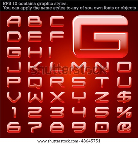 Convex typeface. Red. File contains graphic styles available in the Illustrator 10 + You can apply the styles to any of you own fonts or objects - stock vector