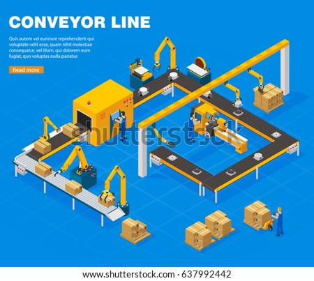 Conveyor line isometric concept with technology symbols on blue background vector illustration