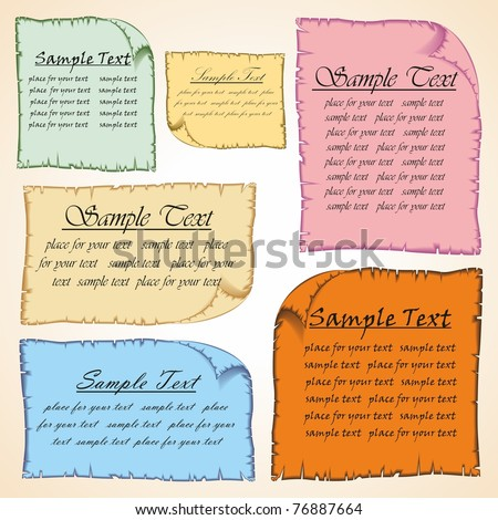 Convolution of paper. Paper with ragged edges, with place for text. Vector. - stock vector