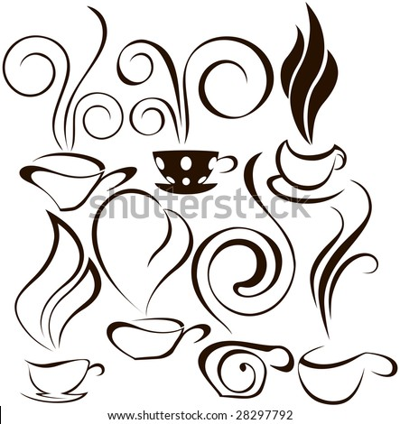 cooffee cup icons 2 - stock vector