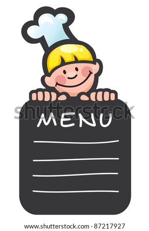 Cook and menu - stock vector