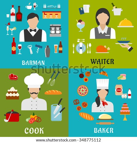 Cook, baker, waitress and barman profession flat icons with men and women, surrounded by food, drinks and kitchen utensil symbols - stock vector