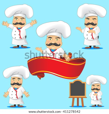 Cook character. Set of cook character. Chief.  - stock vector