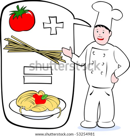 Cook explains his recipe for pasta with tomato, vector - stock vector