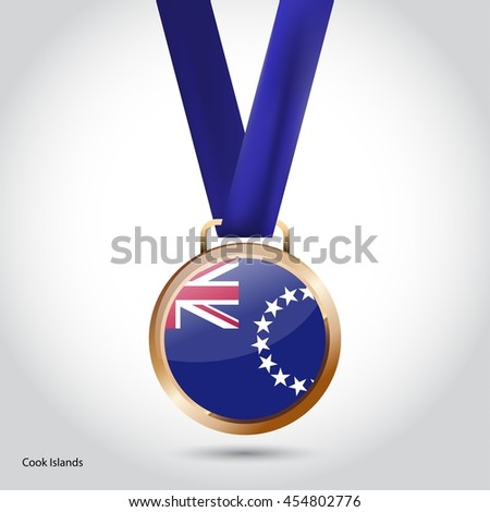 Cook Islands Flag in Bronze Medal. Olympic Game Bronze Medal. Vector Illustration - stock vector