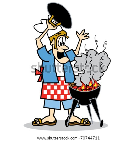 cook chef cooking on bbq barbecue stock vector 2018 70744711 rh shutterstock com bbq grill clipart free