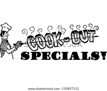 Cook-Out Specials - Retro Clip Art Illustration - stock vector