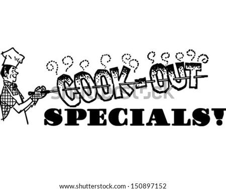 Cook-Out Specials - Retro Clip Art Illustration - stock vector