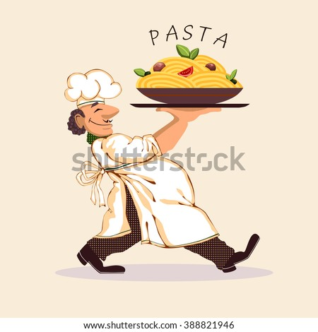 Cook pasta bright picture icon vector illustration