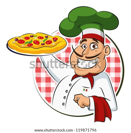 Cook Pizza. Vector illustration isolated on a white background - stock vector