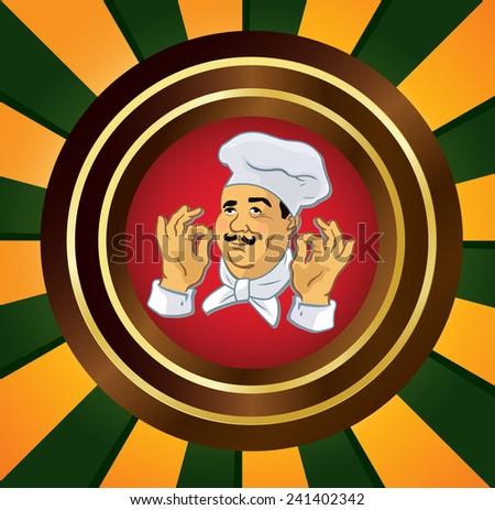 Cook, poster, hands - stock vector
