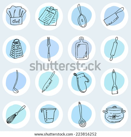 Cook's tools and items set. Round icon with items for cooking.  - stock vector