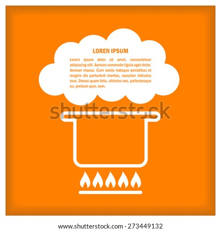 Cook template with pan. Vector illustration for menu, recipes, posters and banners - stock vector