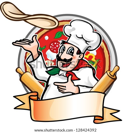 cook throws the pizza - stock vector