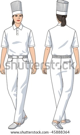 Cook trousers white female with a pocket