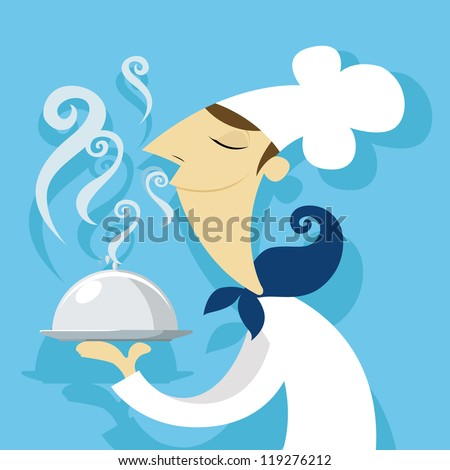 Cook with a delicious dish - stock vector
