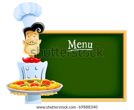 cook with pizza and menu vector illustration isolated on white background - stock vector