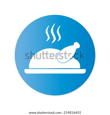 Cooked chicken or roasted turkey ready for Thanksgiving. Vector icon or sign. - stock vector