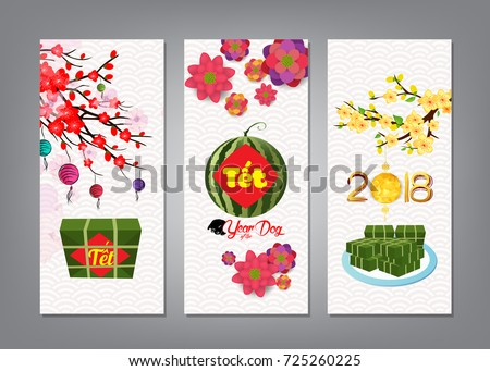 Cooked square glutinous rice cake blossom stock vector 725260225 cooked square glutinous rice cake and blossom banner vietnamese new year translation m4hsunfo