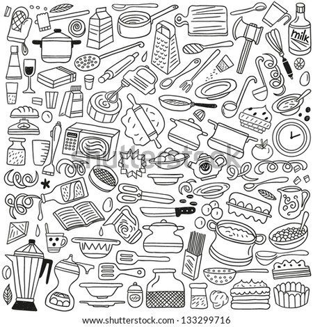 Cookery, kitchen tools - doodles - stock vector