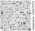 Cookery, natural food - doodles set - stock vector
