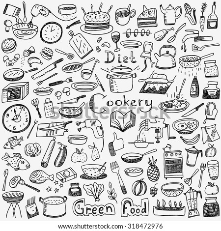 Cookery, natural food - doodles set