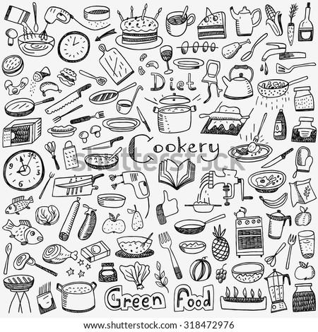 Cookery, natural food - doodles set - stock vector