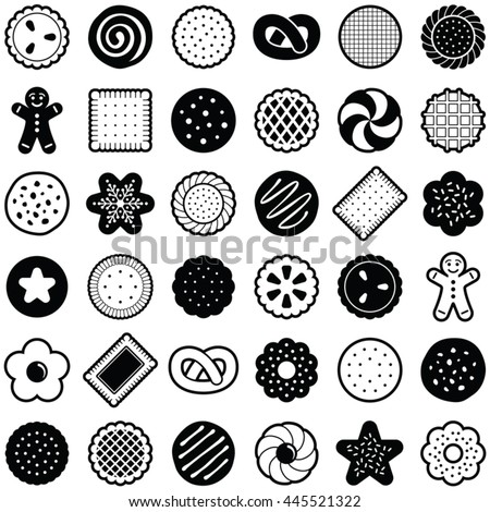 Cookie icon collection - vector outline illustration and silhouette - stock vector