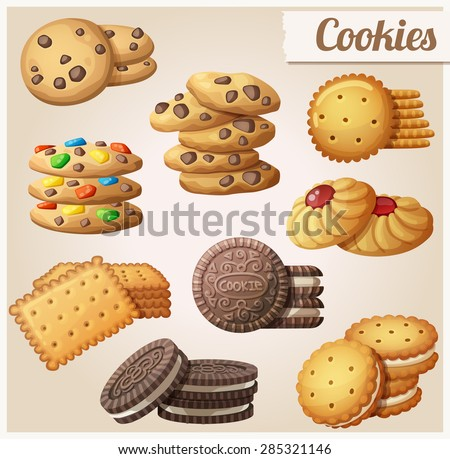 Cookies. Set of cartoon vector food icons.  - stock vector