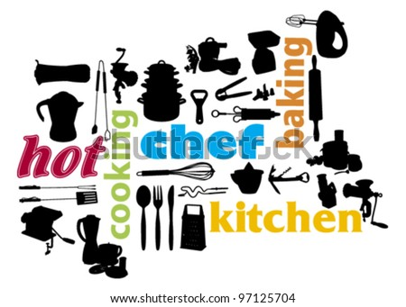 cooking and kitchen appliances silhouette - stock vector