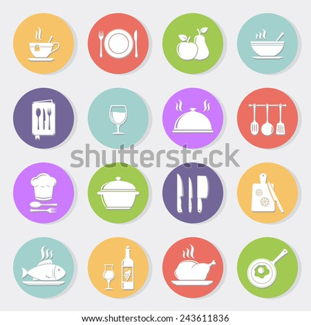 Cooking and kitchen flat icons - stock vector