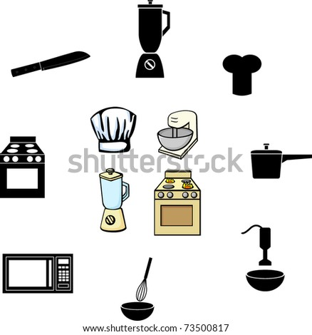 cooking and kitchen illustrations and symbols set - stock vector