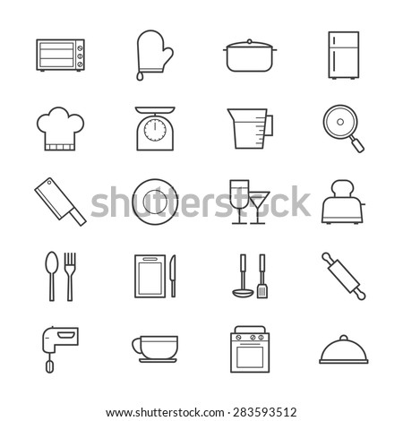 Cooking and Kitchen Utensil Icons Line - stock vector