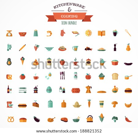 Cooking & Backing flat icons, Kitchenware vector elements - stock vector