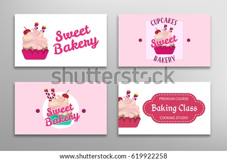 Cooking baking class bakery studio business stock vector 619922258 bakery studio business card sweet store greeting template vector illustration colourmoves
