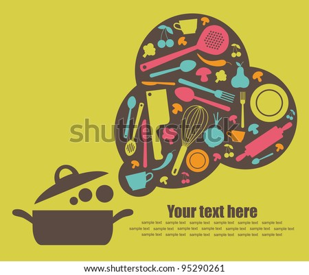 cooking book cover. vector illustration - stock vector