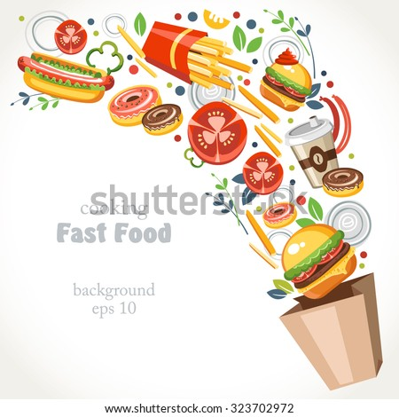 cooking collection background fast food - stock vector
