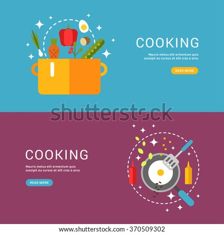 Cooking Concept. Fried Eggs in a Frying Pan. Soup in the Pan. Set of Templates for Web Banners with Headline and Button. Vector Illustration in Flat Design Style - stock vector