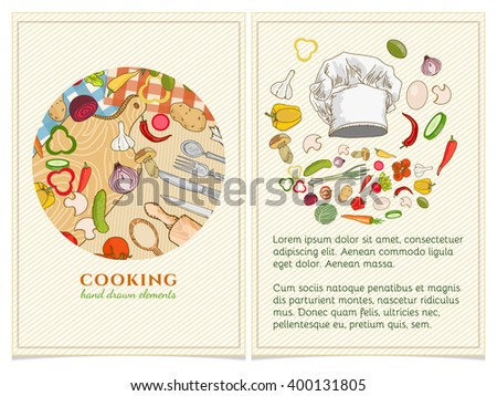 Cooking Cookbook Template Hand Drawn Elements Stock Vector