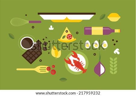 cooking desk header - stock vector