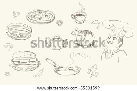 cooking doodles - stock vector