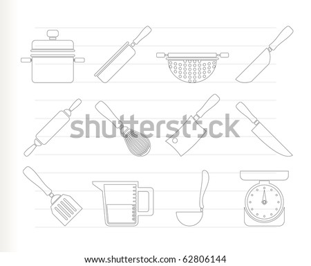 Cooking equipment and tools icons - vector icon set - stock vector