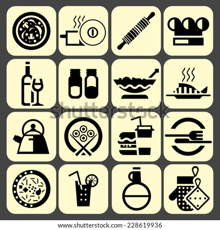 Cooking food icons set black with pizza pot rolling pin chef hat isolated vector illustration - stock vector