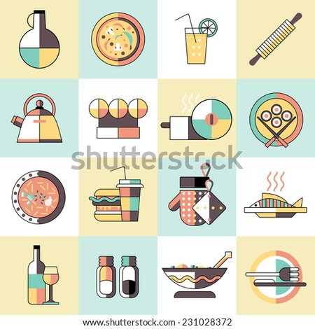 Cooking food icons set flat line with seasoning pizza cocktail rolling pin isolated vector illustration - stock vector