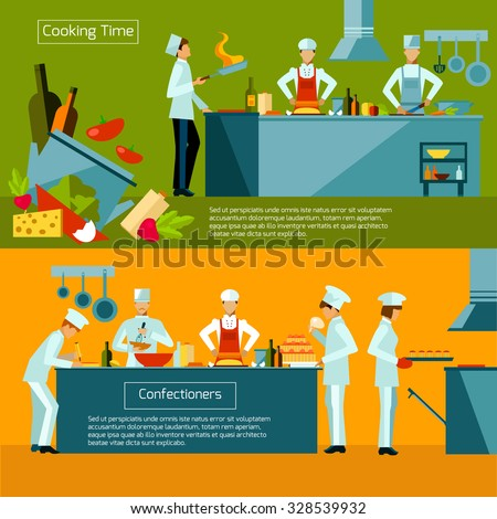 Cooking horizontal banner set with restaurant chef and assistant silhouettes isolated vector illustration - stock vector