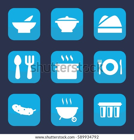 cooking icon. Set of 9 filled cooking icons such as plate fork and spoon, fork and spoon, bowl, cucumber, chef hat, pan, filter
