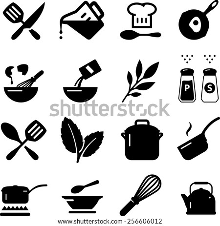 Cooking icon set. Vector icons for digital and print projects. - stock vector