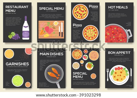 Cooking Information Cards Set Menu Template Stock Vector - Free pages menu template