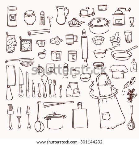 Set Kitchen Utensil Doodle Stock Vector 413970217
