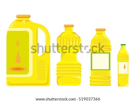 Cooking oil from different sources and in different storage sizes. Editable Clip Art.